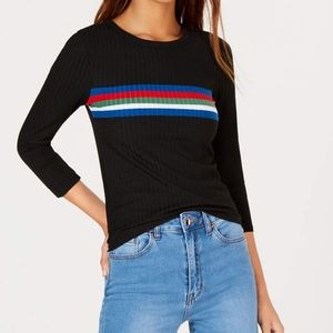 Crave Fame Juniors Womens Striped Ribbed Knit Top